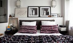 La chambre à coucher de Samantha Hauvette Le linge de lit de Valérie Barkowski pour ampm