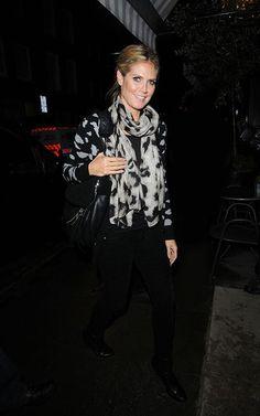 Heidi Klum wearing Theodora & Callum Abstract Leopard Scarf