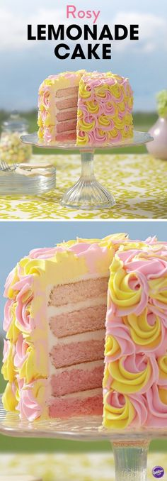 This Rosy Lemonade 5-Layer Cake is just as tasty as it is beautiful, with a lovely pink ombre effect surprise! The simple yellow and pink rosettes make this layered cake a great project for beginning cake decorators. This cake is easy yet elegant enough to make for mom on Mother's Day!