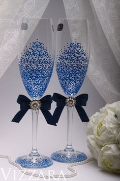 Toasting Glasses Navy Blue HAND Painted Wedding Champagne Flutes