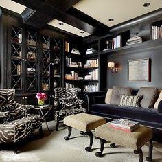 Black Living Room, Transitional, living room, Candace Cavanaugh Interiors