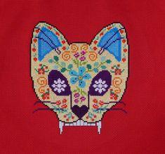 Cat Sugar Skull Cross Stitch Pattern by HanksPatternPlace on Etsy