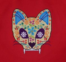 The pattern will be emailed to you in PDF format. This pattern measures 6 x 6 3/4 on 14 count fabric. Stitch the design on a wall hanging, a pillow or onto a shirt. Sugar skulls are symbols of death, day of the dead, good luck and remembrance.
