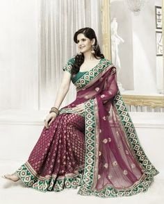 Beautiful Maroon net saree crafted with resham, stone, zari, sequins, zari and patch patti work. The pleat area is made of viscose fabric.   http://www.facebook.com/photo.php?fbid=251613288292678=a.239698396150834.55258.239592109494796=1