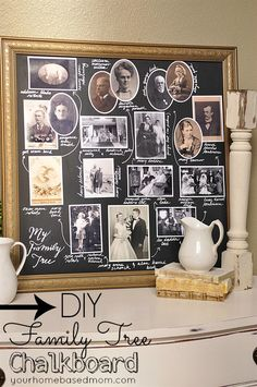 DIY Family Tree Chalkboard - Decorating with Pictures by Your Homebased Mom Foto Fun, Heritage Scrapbooking, Family Genealogy, Decorating With Pictures, Family Memories, Photo Craft, Meaningful Gifts, Photo Displays, Family History
