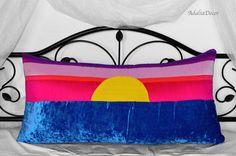 Sunset Pillow. Blue Crushed Velvet Pillow. Pink Silk Pillow. Purple Silk Pillow. Yellow Silk Pillow. Body Pillow. Lumbar Pillow. Handmade #DecorativePillows #ThrowPillows #AccentPillows #Homedecor  #Pillowcovers #Design #Homedesign #Art  #FamilyRoom #DesignerPillows #BedPillow #CouchPillow #BeautifulHome #PillowCover #Sunset #Sunsetpillow #Bluevelvet #Bluehomedecor #Fuschiapillow #yellowpillow  #pinkpillow