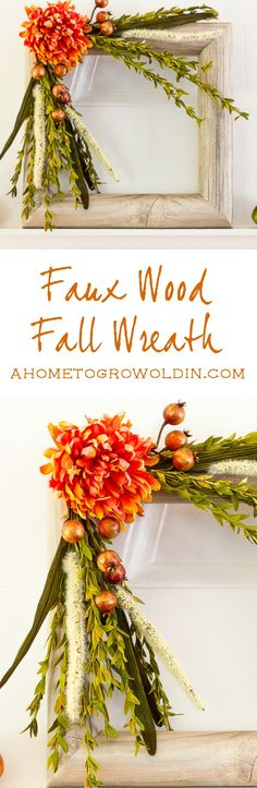 Here's a great tutorial on how to make a square shaped fall wreath using a pool noodle and contact paper!  This easy DIY will look great with your fall decorations! via @ahome2growoldin