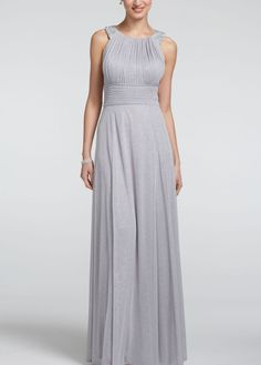 Sleeveless Glitter Jersey Dress with Beaded Straps - David's Bridal- mobile