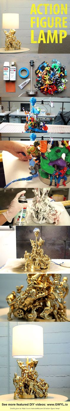 When you just can't let go of these toys especially your beloved action figures, might as well upcycle them to something more useful. Here's a project that will surely be a new favorite. See video and written instructions here ==> | http://gwyl.io/action-figure-lamp/ | Transform Your Old Toys Into This Ultra-Cool Action Figure Lamp  . Jason