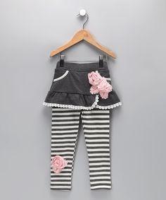 Gray & White Skirt & Leggings - Toddler & Girls