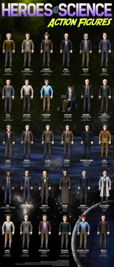 A conceptual advertisement for an action figure set of famous 20th century scientists. Credit to Russell Gawthorpe.