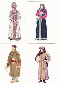 set of 14 assorted Russian Folk Costume Dress Drawings Vintage Print Postcard 1969 Fine Art  women