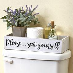 Lakeside Toilet Tank Topper Tray - Please Seat Yourself - Novelty Bathroom Décor