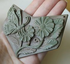 Huge cameo carved Jasper Butterfly and Flower (drilled to be a pendant)