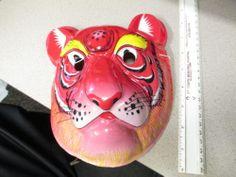 halloween mask (1 item unused) RED LION KING TIGER China Cat Mask, Halloween Masks, Lion, China, Red, Painting, Ebay, Leo, Painting Art