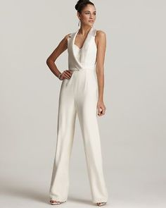 Theia NEW Ivory Silk Notched-Collar V-Neck Sleeveless Banded Waist Jumpsuit 2 | Clothing, Shoes & Accessories, Women's Clothing, Jumpsuits & Rompers | eBay!