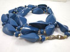 Vintage Denim Blue Bead Necklace 31 inches by BonniesVintageAttic