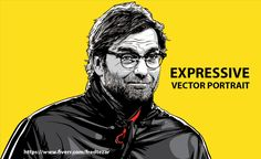 Jurgen Klopp draw expressive vector portrait of you from photo