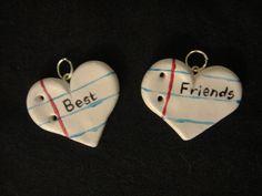 Handmade Polymer Clay Best Friend Notepaper Heart bykrtkendra, $16.99: