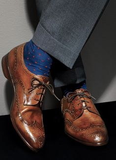wing tip shoes and fun socks