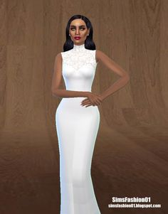 Sims Fashion 01: Tulle Wedding Dress with Floral Lace • Sims 4 Downloads