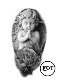 Clock Tattoo Design, Tattoo Design Drawings, Tattoo Sketches, Tiger Tattoo Sleeve, Sleeve Tattoos, Religous Tattoo, Religious Tattoo Sleeves, Mago Tattoo, Beautiful Angel Tattoos