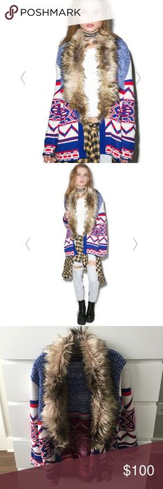 MINKPINK Legends of the Forest Cardi NWOT- never worn & in perfect condition. Soft red white and blue cardi with hook & eye front. Faux fur collar. Smoke free pet free home! From Dollskill. MINKPINK Sweaters Cardigans