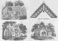 """Cottage designs and details published by Downing in 1852. Images via """"The Architecture of Country Houses"""" A Picturesque Carpenter Gothic Cottage in Columbia County, Yours for $1.35 Million 