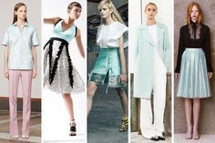 Seafoam Whether a coat, skirt, or shirt, this fresh color was used by plenty of designers to brighten up looks. Pringle of Scotland, Antonio Berardi and Honor all opted for a metallic sheen. Looks: Pringle of Scotland, Antonio Marras, Antonio Berardi, Sportmax, Honor