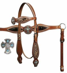 Showman Alligator Print Headstall, Reins, Breast Collar Set With Engraved Cross Conchos | ChickSaddlery.com