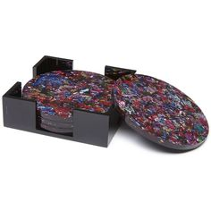 Edie Parker Rainbow Confetti Coaster Set (210 CAD) ❤ liked on Polyvore featuring home, kitchen & dining, bar tools, gift guide /, kirna zabete, the hostess, acrylic coasters, acrylic holder, handmade coasters and edie parker