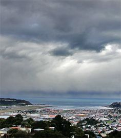 Wellington ... The airport to the left and the waters of Cook Strait.