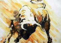 Fight Bull Paintings Painting - Toro by Jose Espinoza