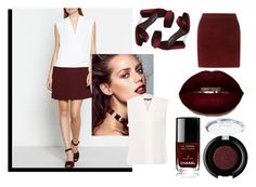 """""""white and maroon"""" by nazia-shazia ❤ liked on Polyvore featuring Reiss, Jeffrey Campbell, Dorothy Perkins, Kobi Halperin, Chanel and tarte"""