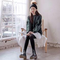 Puff Sleeve Mock Layered Frill Hem Sweatshirt  #koreanfashion #koreanstyle #inspirations #streetfashion #fashion
