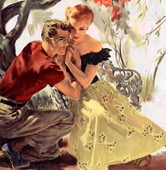 "Their intertwined hands show an intimacy of their relationship that is in contrast to the concern on his face. Something or someone is about to interrupt this moment. This painting illustrated the story ""Because I Love You"" in Woman's Home Companion in January 1950."