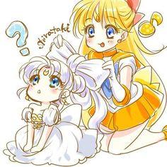 Little Princess Serenity and Sailor Venus fan art. Sailor Pluto, Sailor Venus, Sailor Moom, Arte Sailor Moon, Sailor Moon Fan Art, Sailor Moon Manga, Sailor Jupiter, Film Manga, Manga Anime
