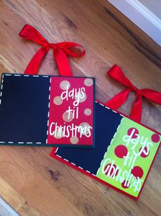 Days til Christmas chalkboards by TwirlingBrushes on Etsy