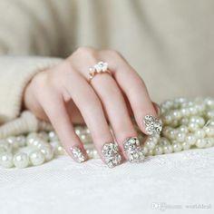 terrain femmes ornements beauté paillettes strass acrylique nail sticker cristal faux ongles patch