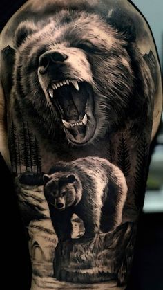 75 + Bold Bear tattoo designs, ideas & meaning - the colorful design of the . - 75 + Bold Bear Tattoo Designs, Ideas & Meaning – The colorful design of the bear is recognized wo - Lion Back Tattoo, Lion Forearm Tattoos, Dragon Tattoos, Wolf Tattoo Sleeve, Sleeve Tattoos, Tattoo Indien, Grizzly Bear Tattoos, Tattoo Designs, Tattoo Ideas