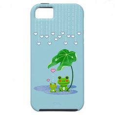 Cute Love Heart Rain & Frogs - Love Just Happens iPhone 5 Cases