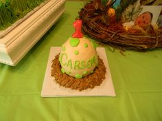 Dinosaur Egg Smash Cake. For my nieces 1st birthday. will go great with the dinosaur cake!