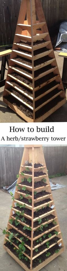 How to build a herb/strawberry tower. How to build a herb/strawberry tower. Garden Soil, Garden Boxes, Edible Garden, Raised Garden Beds, Herb Garden, Lawn And Garden, Vegetable Garden, Strawberry Tower, Strawberry Garden