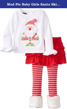Mud Pie Baby Girls Santa Skirt Set Christmas Holiday 0-6M. 2-piece set. Cotton shirt features dimensional Santa appliqué with ruffled sleeve. Comes with tiered skirt and cotton knit leggings with faux-fur cuffs.