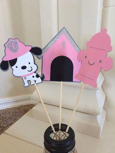 Girl Dalmatian Centerpieces* Glittered Dog Centerpieces* Popular Parties* Girl Fire House* Firetruck Decorations * 1st Birthday Centerpieces
