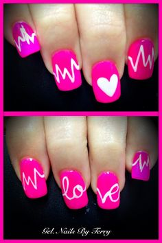 Pretty in pink, heart love life line... Gel polish nails by Terry