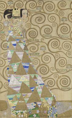 Werkzeichnung für die Ausführung für ein Mosaikfries für den Speisesaal des Palais Stoclet in Brüssel: Teil 2, Die Erwartung (Tänzerin) by Gustav Klimt.  Courtesy of MAK - Österreichisches Museum für angewandte Kunst / Gegenwartskunst.