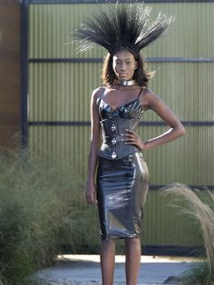 "Syren's Mila Bra and Pencil Skirt both in black latex on last night's episode of ""The Face,"" starring Naomi Campbell, for the restrictive clothing runway challenge. The amazing stylist for the show completed the models' looks with some seriously sexy, high security leather from our parent company The Stockroom. Photo Credit: Oxygen Media/Steve Fenn; Oxygen Media/Tim Brown"