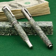 Hobble Creek Craftsman Shredded Cash Pen Blanks from Craft Supplies USA --- Cash blanks are made of genuine shredded US currency that's been cast in a premium resin. Ideal for use with pen, key ring, and razor kits to name a few, your handcrafted turnings will look like a million bucks and they'll make a great conversation piece too! #penblank #penturning #penmaking #woodturning #casting Pen Turning, Wood Turning, Style Gentleman, Craft Supplies Usa, Back Painting, Pen Blanks, Pen Design, Writing Instruments, Crayon