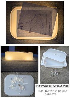 caja de luz con un tuper Diy Light Table, Ideas Para, Montessori, Homeschool, Learning, Crafts, Activities, Scrappy Quilts, Ideas